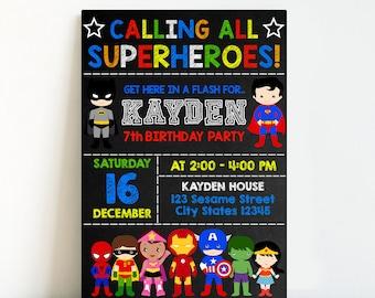 Instant Download-Superhero Invitation,Superhero Birthday Invitation,Superhero Party,Avengers Birthday Invitation,Avengers Invitation