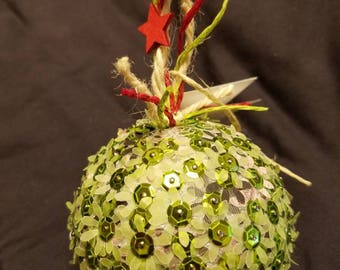 Sequin and Paper Flower Ornament