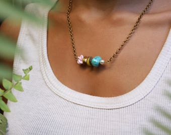 C O T T O N  C A N D Y | Handmade Brass Bar Necklace with Porcelain Flower & Mixed Beads