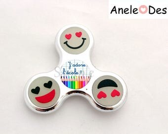 Spinner Hand Spinner - I love school - black and Red cabochon school trendy kids Smiles