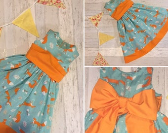 Foxes on Turquoise Party Dress