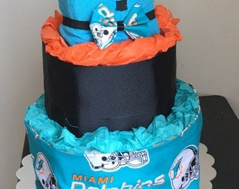 Sports themed diaper cake (Miami dolphins)