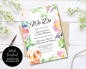 Day Reception Wedding Invitation Template, Printable Editable Wedding Invitation, Watercolor Flowers, Text Editable PDF, Border 4 INV-4