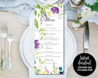 Wedding Day Menu Template, Printable Wedding Menu, Wedding Menu Text Editable, Floral Watercolor Text Edit PDF Wedding Menu, Border 9 MENU-9