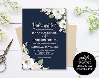 Navy Blue Wedding Invitation, Navy Blue And Green Wedding Invite Printable, Wedding Template Download, Invitations Wedding, Editable Wedding