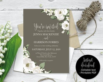 Gray Floral Wedding Invitation, Grey Wedding Invite Printable, Gray Wedding Template Download, Grey Invitations PDF, Gray Editable Wedding