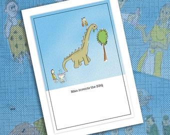 Funny caveman BBQ dinosaur greetings card