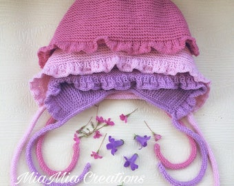 Adorable Girls Hand Knitted Bonnet Pink Merino Wool Hat Baby Pink Bonnet 3-6 month old Soft Bonnet