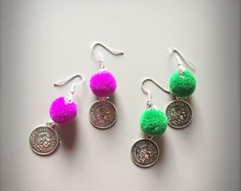 Coin dangle earrings, coin earring dangle, coin earrings, pom pom earrings, gipsy earrings, bohemian earrings, boho chic earrings