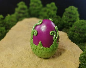 Dragon Egg, Designer, Polymer Clay, Handcrafted, Medium, Purple and Green, Collectible, Clay Egg, Dragon, Dragon Scales