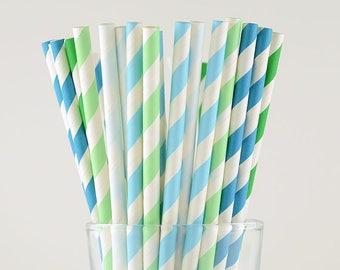 Mint/Blue/Green Mix Paper Straws - Striped Straws - Party Decor Supply - Cake Pop Sticks - Party Favor