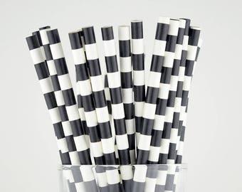 Black Circle Paper Straws - Mason Jar Straws - Party Decor Supply - Cake Pop Sticks - Party Favor