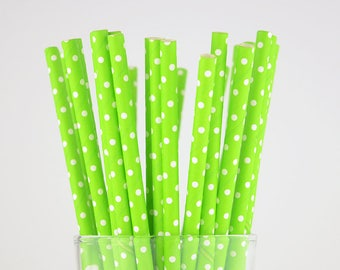 Grass Green Color  Dots Paper Straws - Mason Jar Straws - Party Decor Supply - Cake Pop Sticks - Party Favor