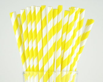 Yellow Striped Paper Straws - Mason Jar Straws - Party Decor Supply - Cake Pop Sticks - Party Favor