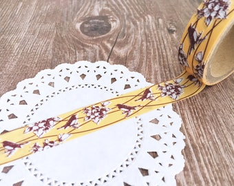 Washi Tape -Birds - Floral - Single Roll Set - 15mm x 5metres - Adhesive Tape
