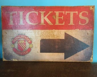 """Vintage retro Style """"Manchester United"""" Ticket Booth Sign Soccer Football Game Poster, Sports Bar Pub England UEFA FIFA"""