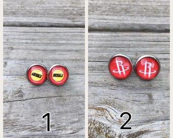 Houston Rockets Stainless Steel Stud Earrings, Houston Rockets fan gift, Houston Rockets girl gift