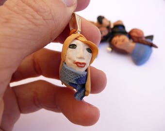 Woman portrait pendant