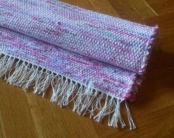 Rag Rug, Handmade Rag Rug, Pink Purple Rag Rug, Handwoven