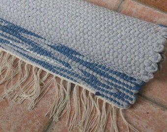 Gray Rag Rug, Small Rag Rug, Handmade Gray Rag Rug, Cotton Rag Rugs, Rug with Stripes, Blue Stripes