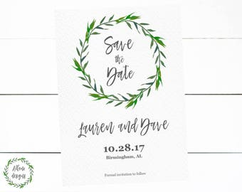 Save the Date Announcement Watercolor Wreath Digital Printable