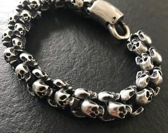 22 cm stainless steel Skull bracelet