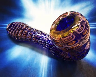 Gold & Blue Snakeskin Sherlock Glass Smoking Pipe, Tobacco Pipe, Spoon Pipe