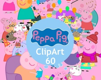 60 Peppa Pig ClipArt - Digital , PNG, image, picture,  oil painting, drawing,llustration, art , birthday,handicraft 300 DPI, 300 PPI