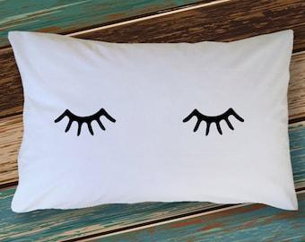 Pillow Case Gift Ideas: Eyelash pillow case   Etsy,