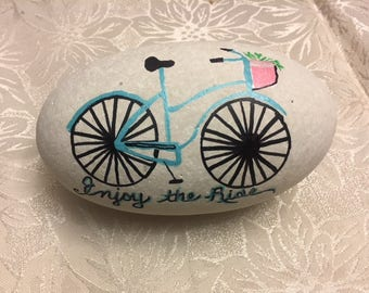 Enjoy The Ride Handpainted Bicycle Rock