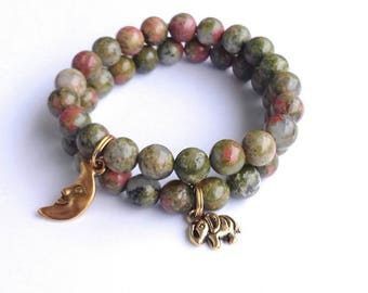 Unakite bracelet, fertility bracelet, unakite natural gemstone bracelets, unakite beaded bracelet, unakite bracelet for healing,