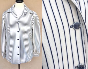 Vintage 60s 70s Long Sleeve Polo/ Polyester Blouse/ The House of Shroyers/ Blue and White Stripes/ Union Made