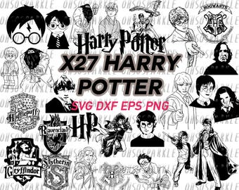 harry potter svg, clipart, silhouette cameo, png, eps, dxf, cut files, vector, stencil, decal, vinyl,cricut, iron on, scrapbooking