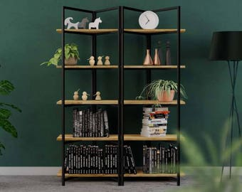 Metal and wood bookcase BONITO BLACK - 150x60x205cm