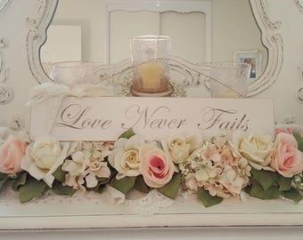 "Vintage ""Love Never Fails"" Hanging Sign"