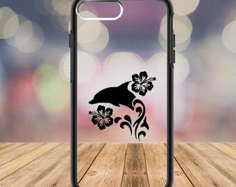 Hibiscus Flower, Dolphin Decal, Dolphin Sticker, Hibiscus Decal, Dolphin Phone Cover,  Custom Phone Case, Dolphin