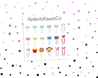 KCD23 Kawaii Paper Clip Stickers | Paper Clip Stickers