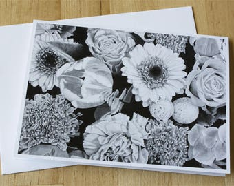 Bouquet of Flowers Fine Art Greeting Card, Graphite Pencil Drawing Print