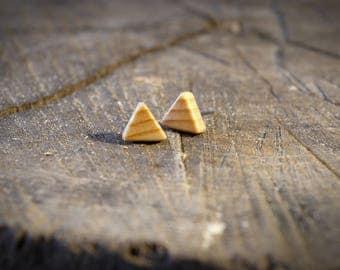 Triangle Wooden Stud Earring - Poplar, Walnut, Handmade, Gender Neutral Pair
