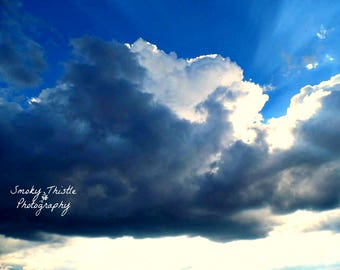 Cloud Photograph, Sky Photograph, Nature, Blue and White Art, Blue Artwork, White Artwork, Rain Cloud, Rays of Sun, 5x7, Gifts Under 25