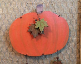 Pumpkin and Leaves Wooden Wall Hanger