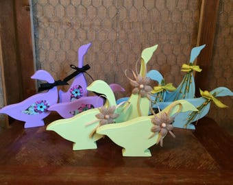 Spring/Easter Decorative Wooden Ducks Set