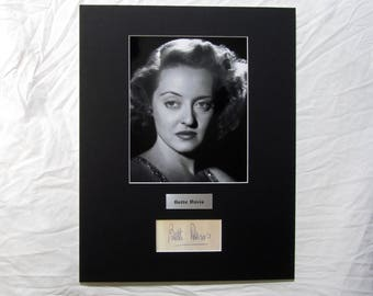 vintage Bette Davis Autograph Autographed Signed Display Art Piece black and white photograph photo artwork