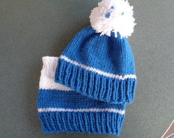 Hat and collar 6 months old baby boys blue and white acrylic