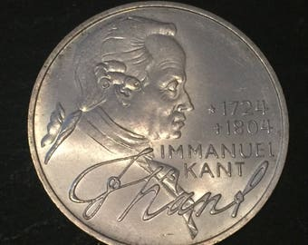 A 1974 D .625 silver german 5 mark coin commemorating 250th Anniversary - Birth of Immanuel Kant