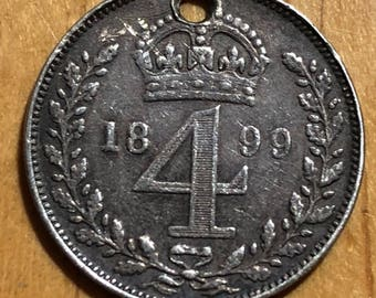 A .925 silver 1899 Queen Victoria widow head British 4d Fourpence maundy coin with hole suitable for collrct, charm or pendant