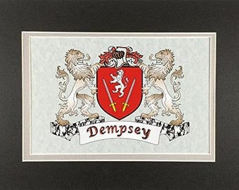 "Dempsey Irish Coat of Arms Print - Frameable 9"" x 12"""