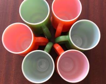 Vintage 1970's Orange and Green Coffee Mug