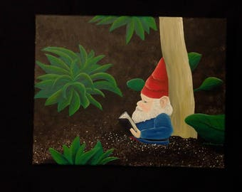 The Reading Gnome Painting