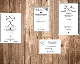 Rustic Hearts Wedding Invitation Kit